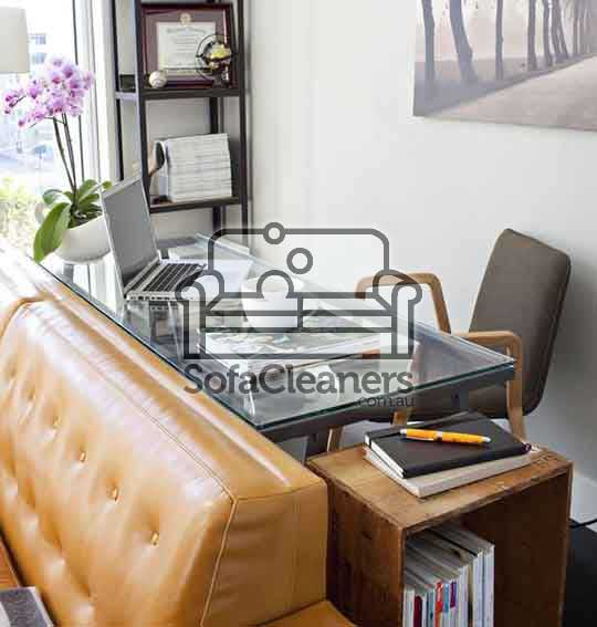 brown leather office sofa