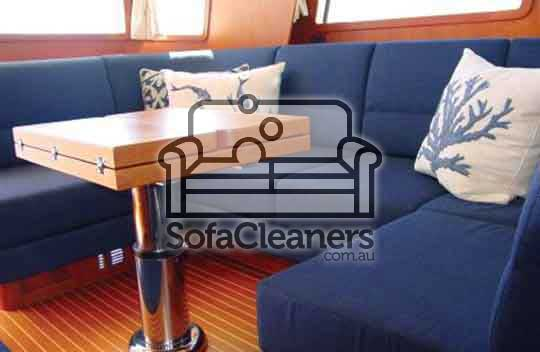 Adelaide clean blue fabric boat sofa