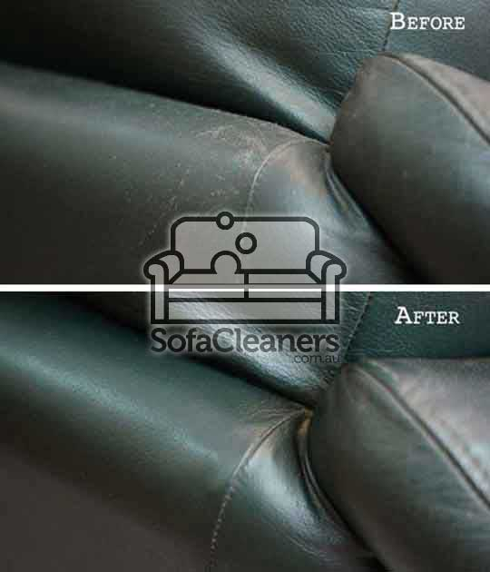 Ballarat black leather couch before and_after cleaning