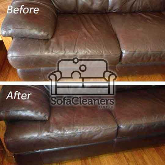 Ballarat brown leather couch before and_after cleaning